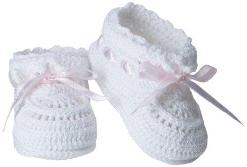 Jefferies Socks Baby Girls' Hand Crochet Bootie, White/Pink, Newborn