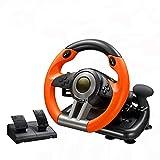 WDLY Volante De Carreras PC, USB 180 Grado Motor De Vibración De Conducción Volante De Carreras De Coches Sim con Pedales para PS3, PS4, Xbox One, Interruptor De Nintendo
