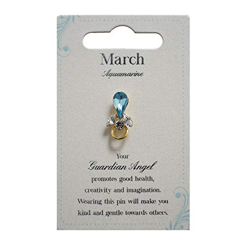 Guardian Angel Birthstone March | Gift Idea | Pind Badge | Brooch Pin, Silver, One Size