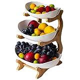 IURFE Cesta de Frutas, Soporte Creativo para Tartas de Frutas de cerámica para encimera, Plato de Frutas de 3 Capas (Estante de Madera de bambú * 1, Cuenco de cerámica * 3)