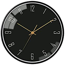 VIKMARI 12 Inch Round Simple Modern Wall Clock Non-Ticking Silent Sweep Movement Black Frame Metal Dial with Gold Arabic Numerals Pattern Quartz Glass Clock Hanging Clock