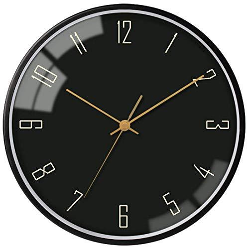 VIKMARI Gold Frame Glas wanduhr Nicht Ticking Silent-Sweep-Bewegung wanduhr 12 Inch schwarzer Rahmen