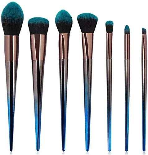 WEHQ Brosses Haut de Gamme Kabuki Maquillage Pinceaux 7Pcs Essential Foundation Blending Pinceau Fard à paupières Kit Cadeau Vert Maquillage Noir pour Les Femmes