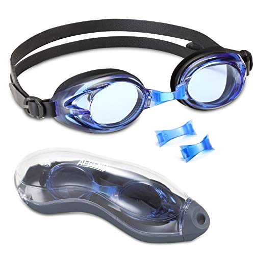 aegend Swim Goggles with Clear Vision Anti-Fog UV Protection No Leaking Swimming Goggles for Men Women Adult Youth Triathlon 3 Sizes Replaceable Nose Pieces and Free Protection Case, Black Navy