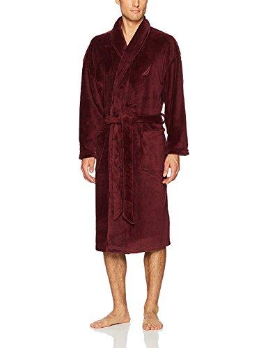 Nautica Men's Long Sleeve Cozy Soft Plush Shawl Collar Robe, Navy, One Size