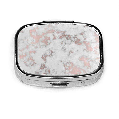 Caja de píldoras cuadrada de plata de mármol de oro rosa de moda personalizada caja de píldora medicina Tablet titular cartera organizador para bolsillo o monedero