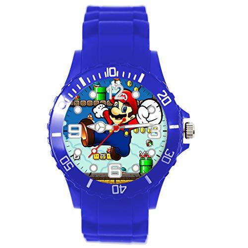 Reloj de cuarzo azul de silicona con boca redonda de fontanero