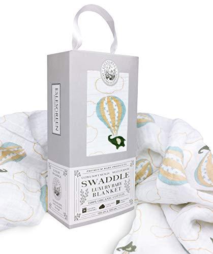 ESLESGREEN Manta Muselina de bebé Grande 120x120cm | 100% Algodón Orgánico Super Suave | Regalo de bebé | Set de regalo recién nacido |