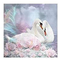 大人と子供のための数字でペイント 美しい白い白鳥 Diyの油絵ブラシでキャンバスを描く数字で描く装飾装飾祭ギフト-16x20インチフレーム付き