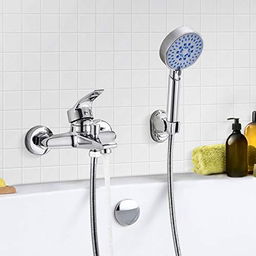 WOOHSE 5 modos Grifo Mezclador Exterior Para Ducha y Baño Con Alcachofa, Manguera y Soporte, Montaje en pared, Cromado