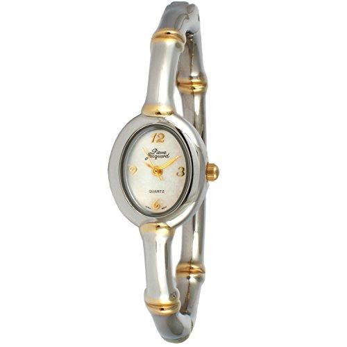 Two Tone Silver Thin Hinged Bamboo Design Bangle Bracelet Dress White Face Watch Bamboo Silver Bracelet Bangle