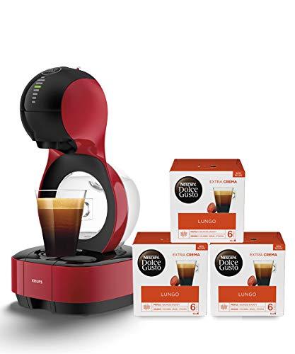 Krups Nescafé Dolce Gusto Lumio KP1305 Kapsel Kaffeemaschine, rot, 1,0 l + Lungo Kaffeekapseln (100 Prozent Arabica Bohnen, Aromaversiegelte Kapseln) 3er Pack (3 x 16 Kapseln)