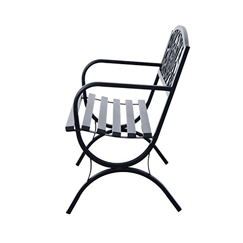 Outsunny® Gartenbank Sitzbank Bank Metall Gartenmöbel 2-Sitzer Schwarz 2 Module (Modell 1) - 4