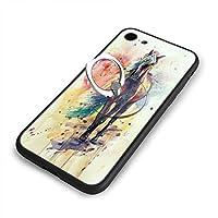 水彩馬iPhone7ケース/iPhone 8 ケース 4.7インチ 強化ガラス 耐衝撃 ガラスTPU バンパー薄型 携帯カバー 全面保護 リング付き 衝撃防止 スタンド機能 高級感 おしやれ 人気 かわいい