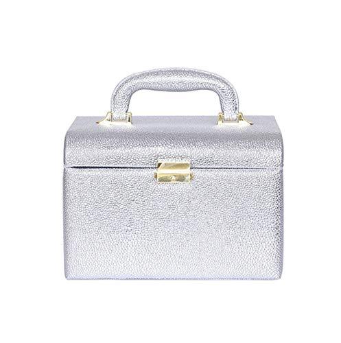 PU Simple Portable Cas Cosmétique Simple Couche Moyenne Lavage Cosmétique Boîte De Rangement Multifonction Voyage avec Boîte De Maquillage (Argent)