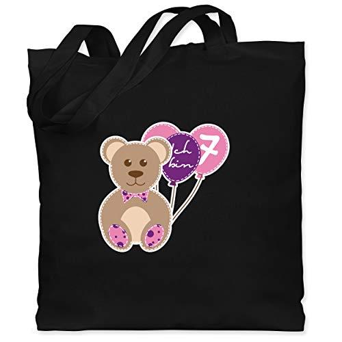 Shirtracer Geburtstag Kind - Ich bin 7 Mädchen Bär Luftballons - Unisize - Schwarz - Geschenk - WM101 - Stoffbeutel aus Baumwolle Jutebeutel lange Henkel