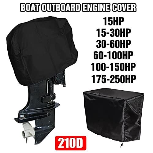 Nbxypeaus Motor Fuera de borda Motor Barco Negro de la Cubierta Impermeable 210D Oxford Heavy Duty Motor FB Protector 15-250HP (Color : 30-60HP)
