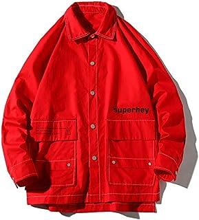HAWEEL Letters Print Long Sleeve Coat Casual Jacket for Men Windbreaker Jacket