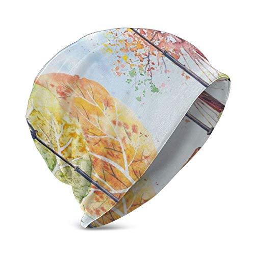 Preisvergleich Produktbild Mamihong Hand gezeichnete Aquarell Herbst Park Bäume Sträucher Bank und Laternen Natur Kunstwerk,  Unisex Teen Verschiedene Strickmützen Stile