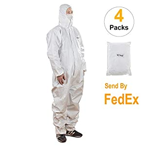 Disposable Protective Coveralls With Attached Hood,Zipper Front,Elastic Wrist and Ankle Cuffs(4, Large)