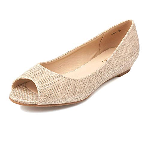 DREAM PAIRS Women's Dories Gold Glitter Low Wedge Peep Toe Flats Shoes Size 6.5 M US