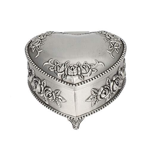 Joyero, organizador de joyas vintage Corazón Flor en relieve Pendientes Anillos Caja de almacenamiento Collar Caja de baratijas de...