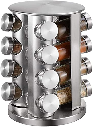 Spice-rack 16 glazen potten roestvrij staal Spice rack 360°roterende carrousel voor kruiden opslag keuken,barbecue…