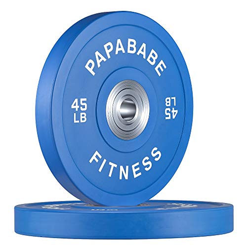 papababe Bumper Plate with Color Coded 2-Inch Olympic Rubber Weight Plate, Strength Training Weightlifting and Crossfit (45lb)