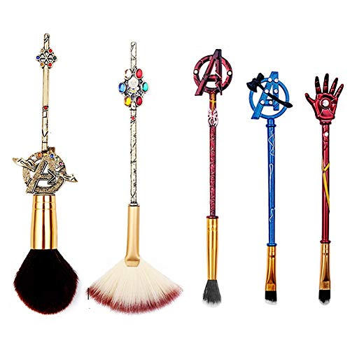 Dilla Beauty 5 Stück Avengers Make-up Pinsel Ironman Free Puderpinsel Marvel Theme Make-up Pinsel...