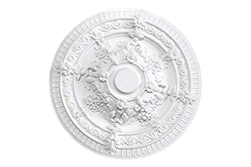 HEXIM Perfect Rosetón de estuco para techo de espuma dura de poliuretano, robusto, elemento decorativo (B3009, diámetro de 660 mm) para candelabro, reborde, medallón, decoración interior