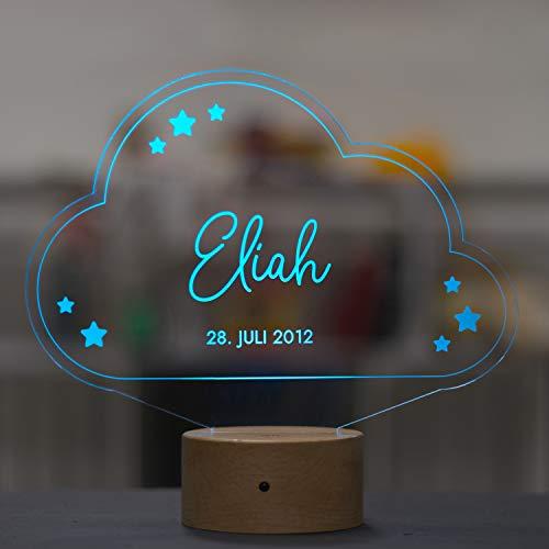 LAUBLUST 3D LED Nachtlicht Kinder - Wolke - Personalisiert, Farbwechselnd, Holz Sockel - Geschenk Geburt & Taufe | Serie: Niers