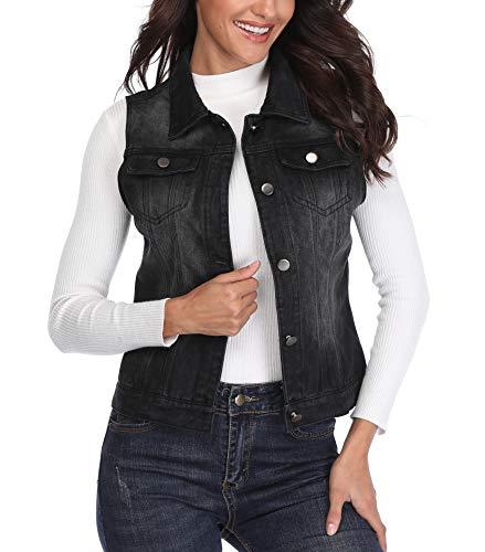 Denim Jacket Women Schwarz Frauen Jean Weste Classic geknöpft westlichen Brusttaschen Umlegekragen Fashion ärmellos - M