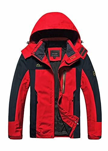 TACVASEN Mountain Jacket Mens Waterproof Outdoor Jacket Mesh Lining Hiking Travel Camping Sports Jacket Red