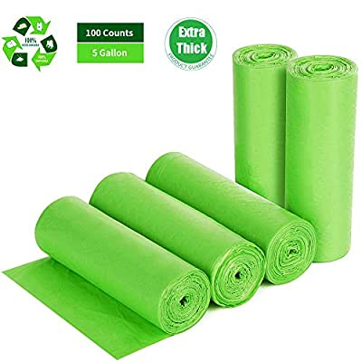 Biodegradable Trash Bags 4-6 Gallon, 100 Counts, Extra Thick 0.71 MIL Small Trash Bag Recycling Garbage Bags For Kitchen Bathroom Yard Office Wastebasket Car