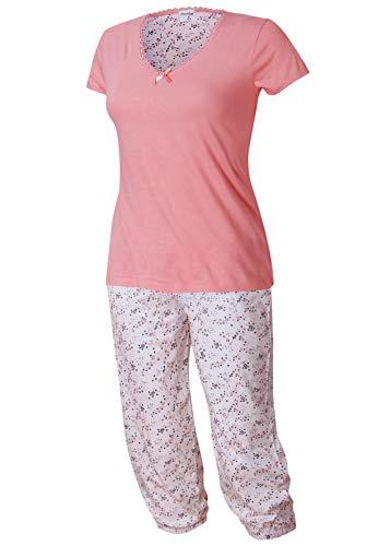 Neu eingetroffen - modischer Damen Schlafanzug Pyjama Shorty mit Caprihose Größe S M L XL Modell Golega Kollektion 2019 (rosa-weiß, 48-50)