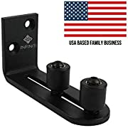 New Improved Design!!! Barn Door Floor Guide | Smooth AS Butter Bearings!!! | Stay Roller Sliding Adjustable by Infiniti Elementz | Unique Guide Flush with Floor | Durable Steel Frame (Black)
