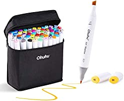 Ohuhu 80-color Alcohol Markers, Double Tipped Board & Fine Permanent Art Marker Set for Kids Adults' Coloring Sketch...
