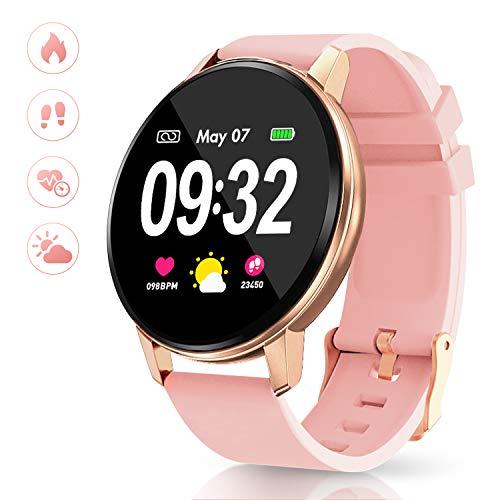 GOKOO Smartwatch Fitness Tracker Damen Herren Full-Touchscreen IP67 Wasserdicht Aktivitätstracker mit Pulsmesser Schrittzähler Kalorienzähler für IOS Android(Rosa)