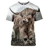 Maglietta estiva da uomo con stampa 3D, con motivo a mucca e faccia, casual, taglia unica, a maniche corte, da uomo 5 S