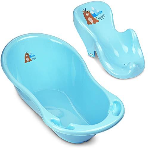 Baby Badewanne mit Gestell und Badewannensitz - Verschiedene Sets für Neugeborene mit Babybadewannen + Ständer +Abfluss + Badewannensitz - Babywanne mit Ständer (2 - Set, Bärchen - blau)