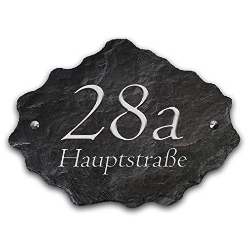 Hausnummer mit Wunschtext aus echtem Schiefer Naturschiefer Hausnummernschild Groß 40x30cm XXL inkl. Montagematerial HNR002 in (Schwarz/Grau)