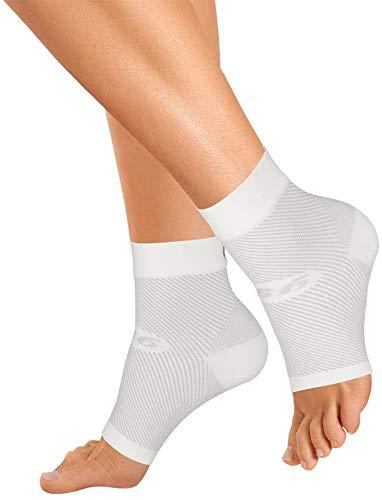 Orthosleeve FS6 Fußbandage Exklusive Kompressionszonentechnologie mit 6 Zonen, Plantarfasziitis, Fersenmschmerzen & Entlastung bei Schwellungen   24 Stunden Komfort   1 Paar, Weiß - GrößeXL