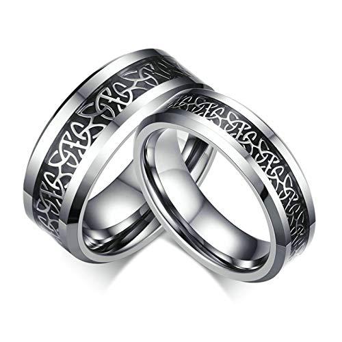 Beglie 6MM Edelstahl Trauringe Verlobungsring Eheringe Paarringe Irischer Knotenblumen Muster Bandring Schwarz Paar Ringe Größe 57 (18.1)