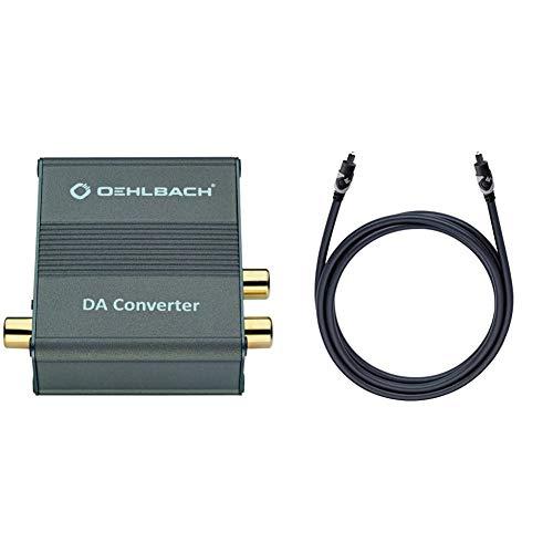 Oehlbach DA Converter - Digital/Analog Audiowandler - Koaxial/Optisch, R-L/Klinke - Cirrus Logic Chip, Metallic Braun & Easy Connect Opto 100 - Optisches Digitalkabel mit Toslink-Stecker, 1m - schwarz