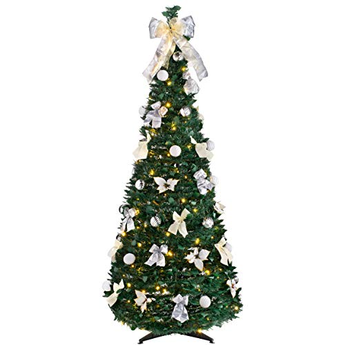 WeRChristmas Pre-Lit Pop Up Decorated Christmas Tree with 150 Warm LED Lights, Multi-Colour, 6 feet/1.8m