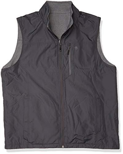 IZOD Men's Reversible Nylon Vest, Charcoal, Medium