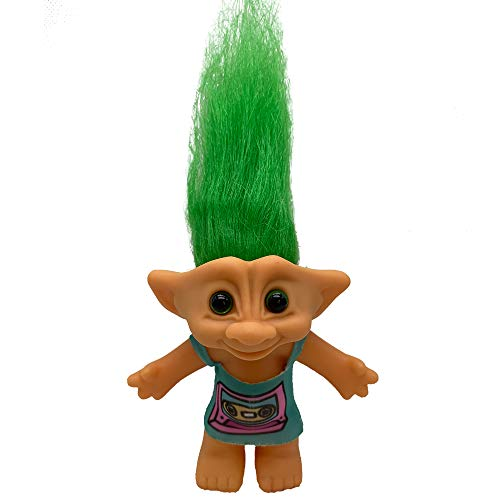 PVC Vintage Trolls Dolls Lucky Doll Action Figures Chromatic Adorable for Collections, School Project, Arts and Crafts, Party Favors - 7.5' Tall(Include The Length of Hair) (Blue Robot)