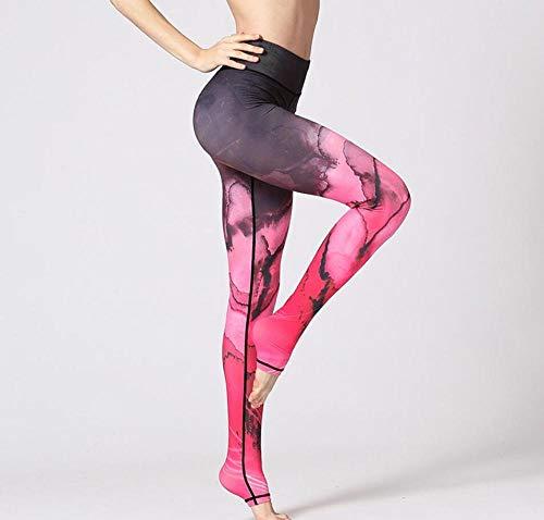 Impresión En Tinta Roja Pantalones De Yoga para Mujer Impresión Digital Leggings 3D Fitness Running Tights-XL