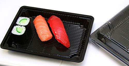 zi pac Sushi-Schale L mit Klarsichtdeckel, 100 Stück, Sushibox, Take Away Schalen, Sushi to go-Trays, schwarz, 207x132x22mm (ohne Deko, Serviette und Sossenbecher)