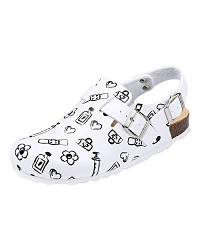 CLINIC DRESS Clog - Clogs Damen bunt weiß Motiv. Schuhe für Krankenschwestern, Ärzte oder Pflegekräfte weiß/schwarz, Health Care 36